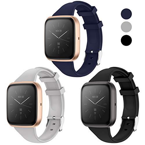 KIMILAR Armband Kompatibel mit Fitbit Versa/Versa 2 /Versa Lite/SE Armbänder Silikon, Schlank Ersatzband Uhrenarmband für Versa Special Edition Smartwatch -Schwarz/Navy/Grau, S