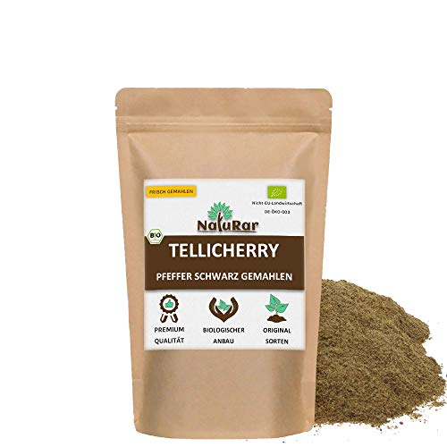 NatuRar Bio Schwarzer Tellicherry Pfeffer Pulver 50g | Frisch gemahlen | Kontrollierter Biologische Anbau aus Indien | Verpackt und Kontrolliert in Deutschland