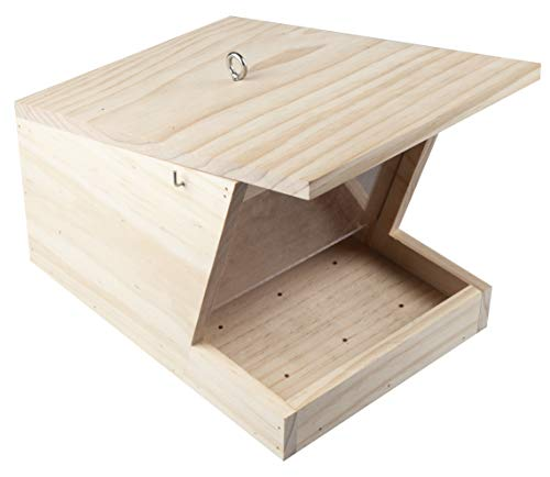 Windhager Vogelfuttersilo Pultdach XL, Vogelhaus, Futterhaus, Vogelhäuschen, Nistkasten Vögel, Füllvolumen Circa 3 Liter, 07444, Holz
