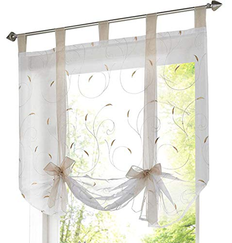 ZebraSmile Lifable Curtain Cute Bowknot Tie Up Roman Curtain Tab Top Semi Sheer Kitchen Balloon Window Curtain, 31.5 x 55 Inch, Sand
