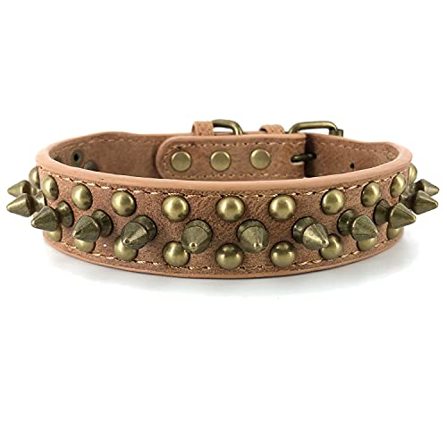 Spiked Studded Dog Collar,Protect The Dog's Neck from Bites. - Fit SmallMedium & Large Dogs (Retro Brown,S) Collar para perro con tachuelas y púas Anti-mordida