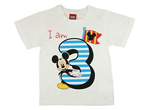 Jungen Baby Kinder dritter Geburtstag Kurzarm T-Shirt 3 Jahre Baumwolle Birthday Outfit GRÖSSE 98 104 Mickey Mouse Disney Design in Weiss oder Blau Babyshirt Oberteil Hemd Polo Farbe Weiss, Größe 104
