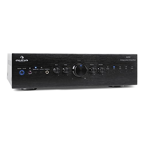 auna CD708 - Home Cinema Estéreo Amplificador de Audio, 125 W RMS, 5 Entradas RCA, 1 Salida RCA, Mando a Distancia, Salida Frontal de Auriculares, Aluminio, Negro