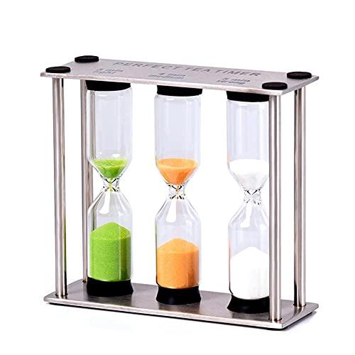 POMNGYUIL Temporizador de reloj de arena, reloj de arena de acero inoxidable de metal, 3/4/5 minutos de arte artesanía, accesorio de decoración de escritorio