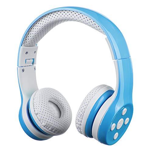 Bluetooth Kopfhörer Kinder, Hisonic Kinderkopfhörer Leicht Tragbare Headset mit Laustärkebegrenzung Verstellbare,Eingebautes Mikrophon und Zwei Anschlüssen zum Teilen. (Blau)