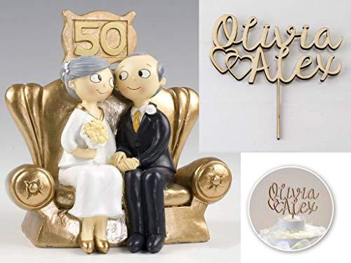 Momparler1870 Holzfigur, Brautpaar mit Goldhochzeit, personalisierbar