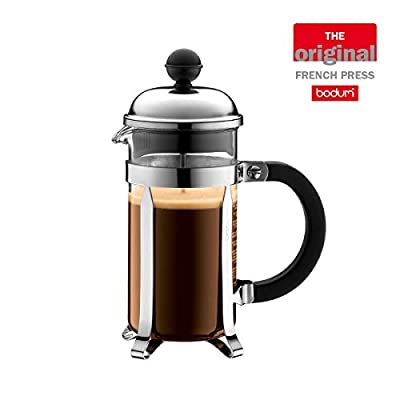BODUM Chambord 3 Cup French Press Coffee Maker, Chrome, 0.35 l, 12 oz