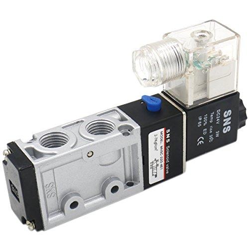 Heschen Electroválvula neumática eléctrica MVSC-220-4E1 24VDC PT1/4 5 vías 2 posiciones CE
