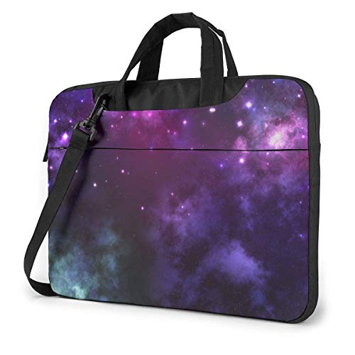 DJNGN Laptop Shoulder Bag Laptop Case 13 Inch, Purple Space Computer Sleeve Cover with Handle, Business Briefcase Protective Bag