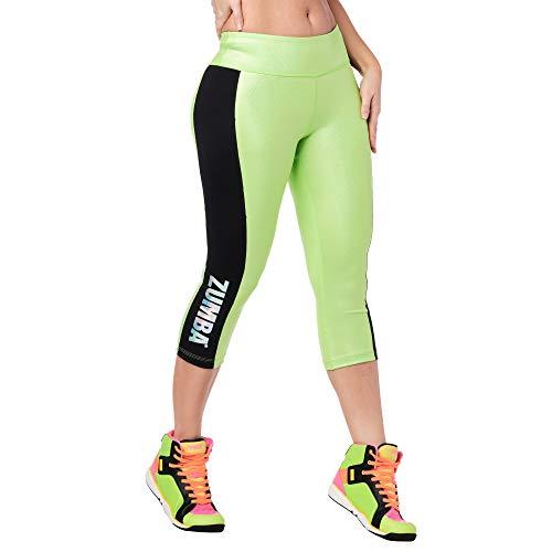 Zumba Stilvoll Metallic-Print Capri Leggings Sport Fitness Kompression Damen Jogginghose, Get in Lime, L