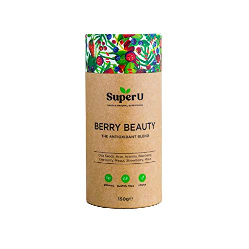 Super U Berry Beauty - Organic Berry Superfood Powder (30 Servings), Antioxidant Powder for Skin Health & Anti Ageing, Produce Natural Collagen with Acai, Chia and More.
