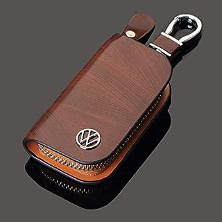 ESMPRO VW Volkswagen Brown Leather Car Key Case Coin Holder Zipper Remote Wallet Key Chain Bag