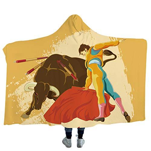 QQFENG Manta con Capucha De La Tauromaquia De Dibujos Animados Niños Adultos Suave Felpa Capa 150X200cm A