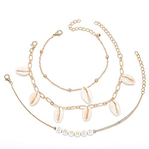 Sethain Tobillera con borla bohemia de concha dorada para el tobillo, colgantes, cadena de pies, joyería para mujeres y niñas (2 piezas)