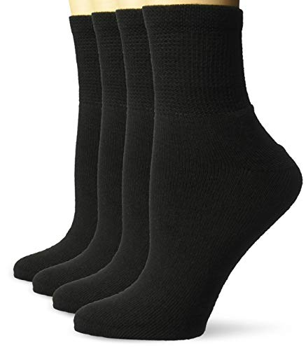 Dr. Scholl's Women's 4 Pack Diabetic and Circulatory Non Binding Ankle Socks, Black, Shoe Size: 8-12