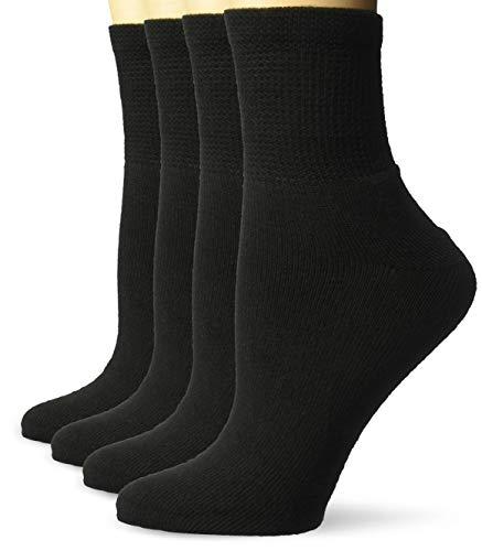 Dr. Scholl's Paquete de 4 calcetines de tobillo para mujer, diabéticos y circulatorios, Negro, Shoe Size: 4-10