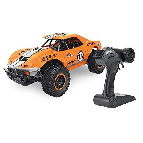 Caminhões de brinquedo, carro elétrico, carro de controle remoto, brinquedos para crianças com areia 1:14 2,4 GHz com tração em duas rodas, absorção de alta velocidade, carro RC(Orange)