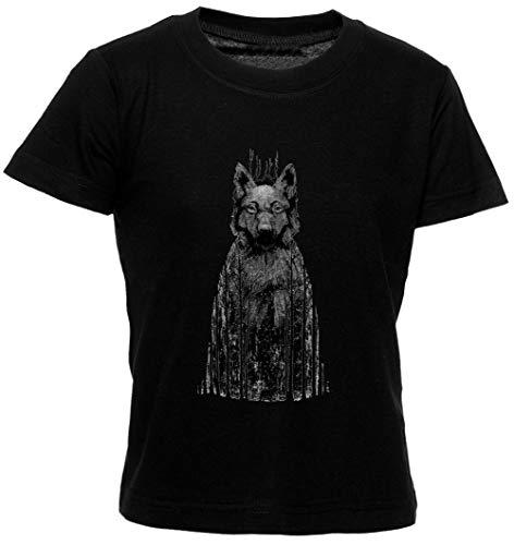 Wolftree Unisexo Niño Niña Camiseta Manga Corta Tamaño S Kids Boys Girls T-Shirt Black Size S