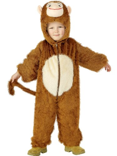 Smiffys Kinder Unisex Affen Kostüm, Jumpsuit mit Kapuze, Größe: S, 30800