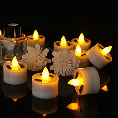 Solar Candle Light, SUNJULY 12Pcs Solar Tea Wax Light Smokeless Simulation Electronic Candle Light Outdoor Solar Tea Wax Light for Christmas Halloween Wedding