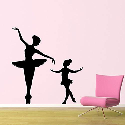 Zhuhuimin Elegante Große Ballerina Kleine Ballerina Wandtattoo Kinder Kindergarten Mädchen Zimmer Vinyl Ballett Wandkleber Innen Kunstwand 1 57x102 cm
