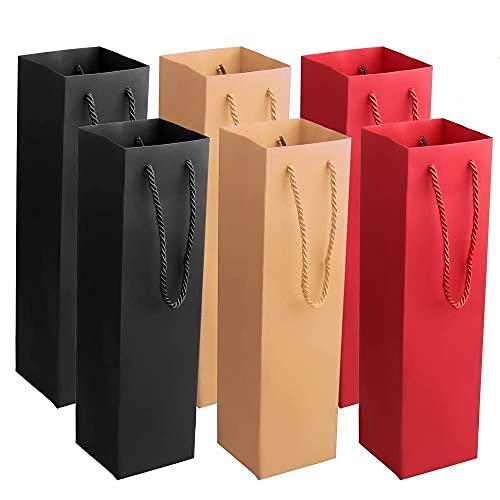 15 Piezas Bolsas de Regalo en Botella, Bolsas de Licor de Vino, Bolsas Champán, Papel Kraft Lujo Bolsas Botellas con Asas de Cuerda para Bodas, Cumpleaños, Fiestas (3 Colores)