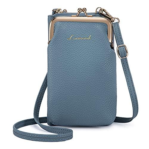 LOVEVOOK Funda para teléfono móvil para mujer, bolso de hombro pequeño, bolso de hombro con monedero, bolso cruzado con tarjetero de piel para iPhone de menos de 6,5 pulgadas, color Azul, talla Small