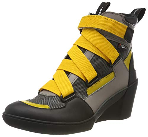 art Damen 1563 Multi Leather Rotterdam Kurzschaft Stiefel, Grau (Grey/Yellow Grey/Yellow), 40 EU