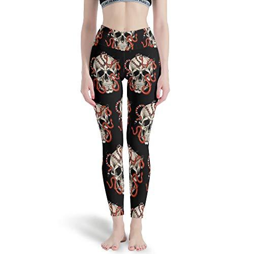 Polainas Deportivas Calavera De Las Mujeres Diseño De Impresión De Tobillo Elástico - Pantalones De Yoga Para Entrenamiento Blanco