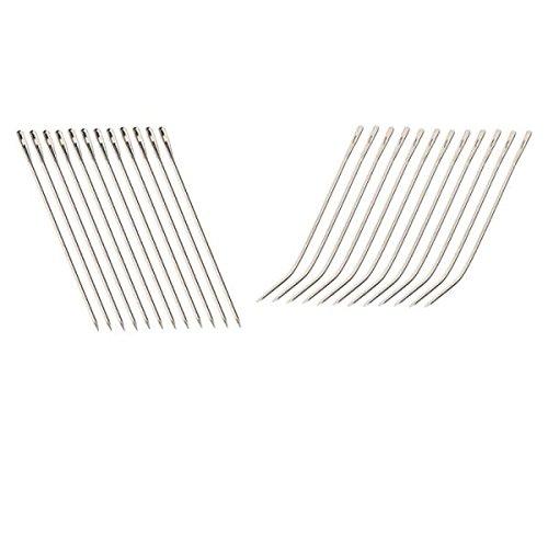 MagiDeal 12x2pcs I / J Forme Coudre Fil avec Crochet Piste Weave Extension de Cheveux Perruque Aiguilles