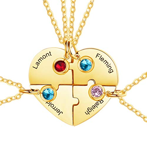 Engraved 1-3 Name Matching Puzzle Necklace Personalized Birthstone Couple Pendant Necklace Birthday Valentine's Day Anniversary Ideas for Friends Couples Parents(Gold2-20')