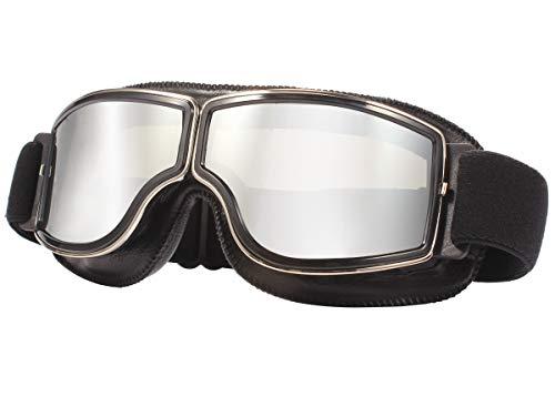 TYSKL Retro Pilot Motorcycle Goggles Fog-proof Warm Goggles ATV Bike Motocross Glasses Protective Eyewear(Yellow Lens) (A-black/Silver Mirrored Lens)