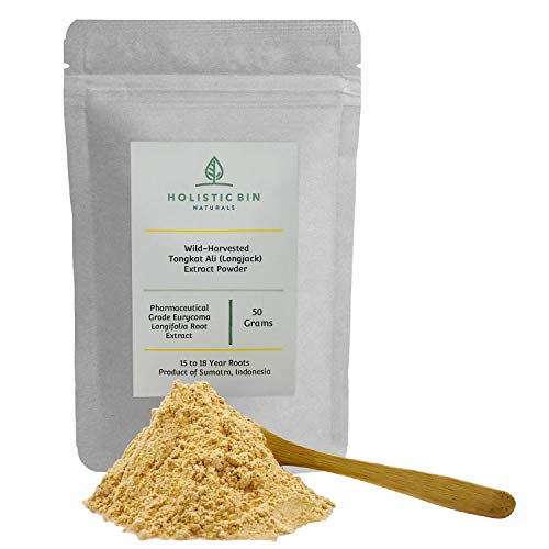 Pure Indonesian (Sumatran) Tongkat Ali Extract Powder by Holistic BIn, Wild Harvested - 15+ Year Old Roots