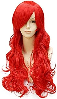 SmartFactory Red Long Curly Wavy Human Hair Synthetic Fiber Wig For Halloween Cosplay Party