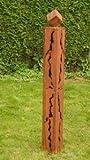 Gartendeko Rost Stehle Säule 125cm mit Rissen und Würfel