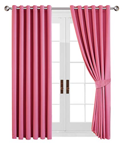 Yorkshire Bedding Blackout Curtain 66 x 54 Ring Top Pink Eyelet Thermal Insulated Door Curtains for Bedroom Darkening Panels + 2 Tie Backs (167 x 137 cm)
