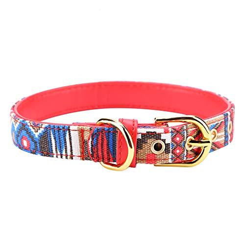 Soapow Verstellbares bedrucktes Hundehalsband, starkes weiches Segeltuch, Hundehalsbänder für Haustierbedarf