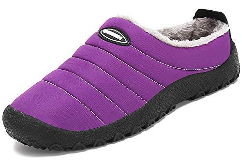 Zapatillas de Estar por Casa Mujer Hombre, Invierno Zapatos de Casa con Forro de Piel - Cálidas y Cómodas - con Suela Antideslizante para Exterior e Interior,Púrpura 38