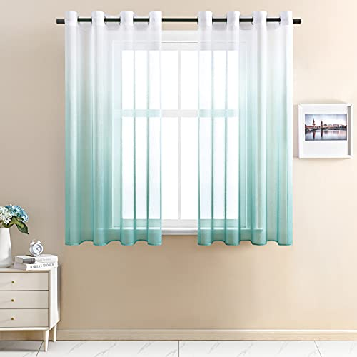 CUTEWIND CUTWIND Farbverlauf Vorhang Weiß-Seeblau Voile Gardinen Transparent mit Ösen Ösenschal Dekoschal Fensterschal für Wohnzimmer Schlafzimmer 140cm x 160cm (B x H) 2er Set