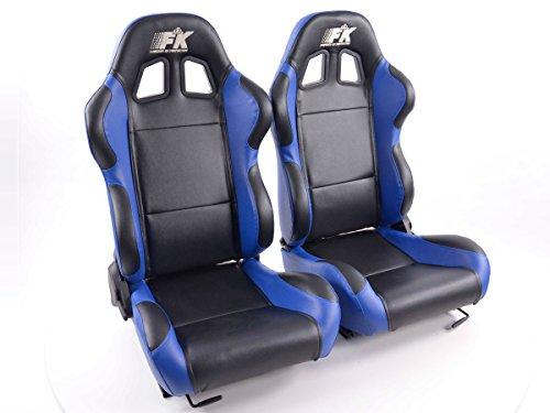 pequeño y compacto Juego de asientos deportivos Boston de FK-Cars, cuero sintético, negro y…