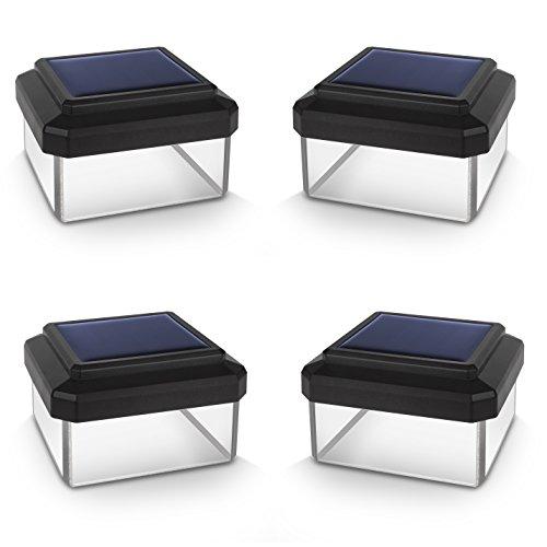Green Blue GB125 LED Solarlampe Zaunpfahl Gartenlicht mit Dämmerungssensor Warmweiß 4000K Akku (Schwarz, 4 Stück 60x40 mm)