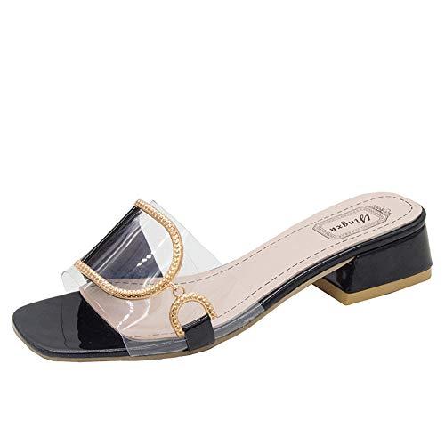 Sandalia clásica y cómoda,Zapatillas de tacón Alto de Moda,Sandalias de tacón Grueso con Hebilla de Metal-Negro_39,Zapatillas de Verano de tacón Plano y cómodas