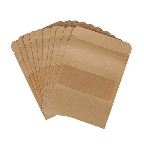 Kentop 100Stk Kraftpapier Beutel Tüten mit Reißverschluss und Sichtfenster, Zip Kleine Papier Beutel für Weihnachten Süßigkeiten Verpackung von Kaffee,Tee Lebensmittel und Snack