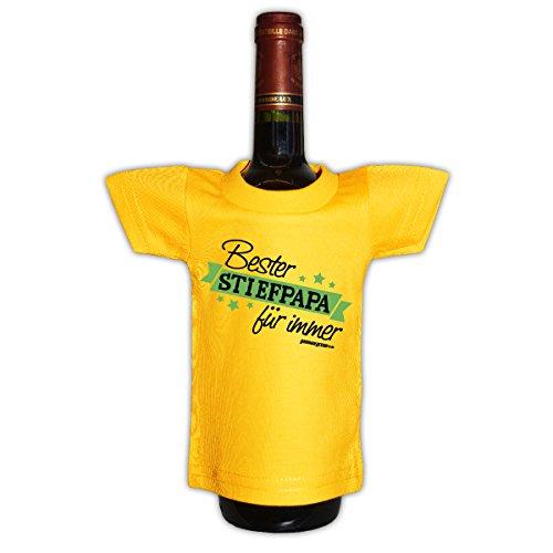 Goodman Design Originelle Flaschenverpackung - Bester Stiefpapa für Immer - Mini T-Shirt als Geschenk, Flaschenüberzug