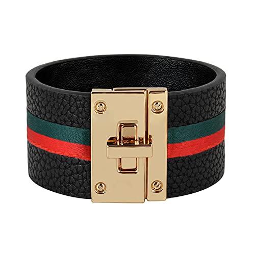 Pulseras de cuero con puños para mujer, brazaletes con cinta verde roja, diseño de bloqueo de acero simple, pulseras con dijes anchos, joyería femenina punk