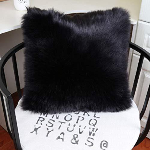 KAIHONG jetant taie d'oreiller en Peau de Mouton Fourrure Artificielle (45x45cm) Cheveux Longs jetant taie d'oreiller Fourrure Artificielle canapé Coussin Coussin Mignon (Noir, 45 x 45cm)