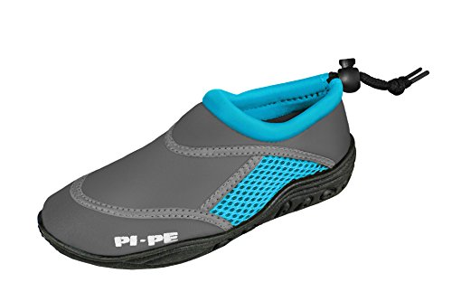 PI-PE Active Badeschuhe Aqua Shoes Damen Herren Schwimmschuhe Strandschuhe (Grey/Cyan, 38)