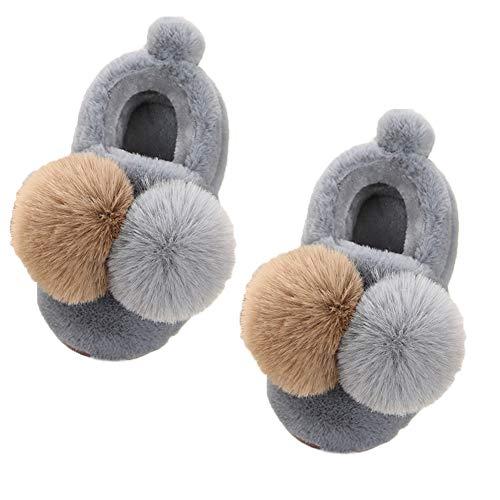 MoGist Zapatillas de algodón Zapatos Acolchados de algodón Chanclas Zapatos de algodón para bebés Un par de Lindas Bolas de algodón Dos Tonos Unisex Padres de niños Zapatillas de algodón Zapatos de