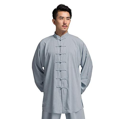 RZJ Tai Chi Kung Fu Uniform Alter Traditionelle Taijiquan Tang, Uniform Baumwolle Kung Fu, Geeignet für Männer/Frauen,Grau,L