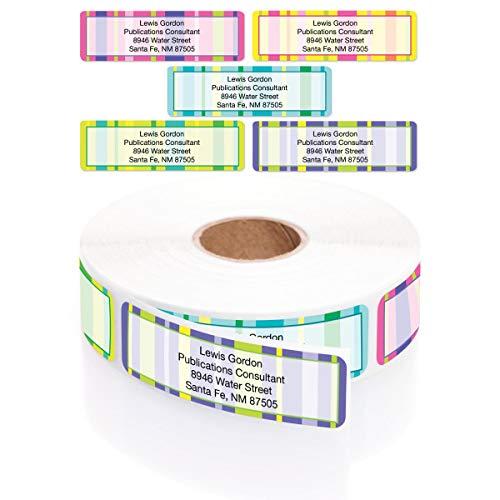 Bright Graphic Stripes Designer Assorted Rolled Address Labels with Elegant Plastic Dispenser